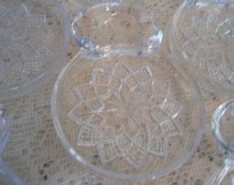 Glass Tea Coasters, Fostoria GlassTea Caddys with tea bag holder,Set of 8 starburst glass coasters,Tea Party vintage coasters,with ashtray