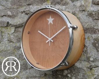 Wall Clock - Reclaimed Drum - Natural - Medium - MAN CAVE!