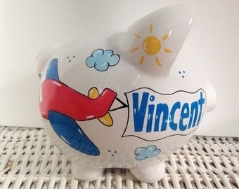Personalized Hand Painted Piggy Bank With Airplane Theme