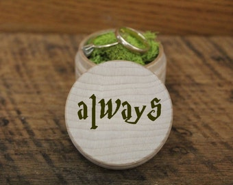 Harry Potter Always Personalized Wood Box Custom Ring Box Personalized Ring Box Custom Wedding Box, Ring Bearer Box, Ring Pillow Alternative