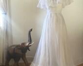 Vintage wedding dress, vintage prom dress, chifon gown, white dress, maxi dress.
