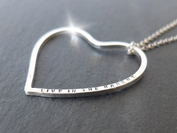 Long Personalised Heart Necklace, Romantic Valentines Day Gift, Long Heart Pendant, Large Heart Necklace, Valentines Day Jewellery