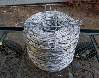 Thick sturdy Barbed Wire 12-1/2 Gauge 2-Point Class I Barbed Wire - 16 Feet Barb Wire - Galvanized Steel