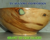 glow in the dark resin,  apple wood hand turned wood bowl, inlaid wood bowl