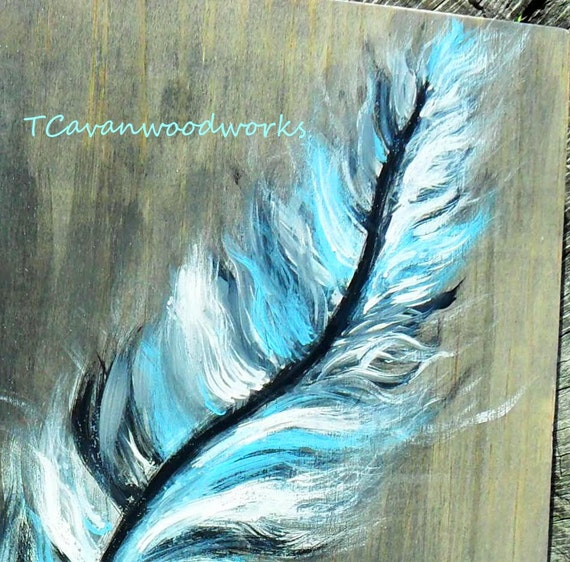 Feather wall art feather painting blue feather silver for Painting feathers on canvas
