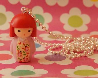 SALE Kawaii Japanese Kokeshi Girl Doll with a lady bird/ladybug kimono Necklace