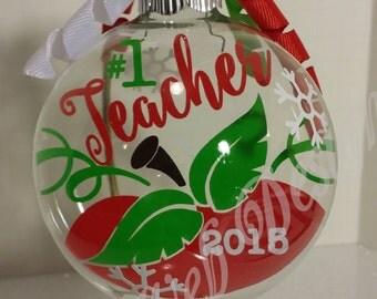 Best Teacher Floating Glass Ball Christmas Ornament
