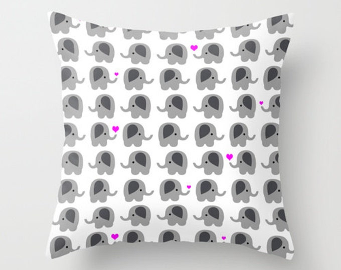 Elephant Throw Pillow Cover Includes Pillow Insert - Elephants with Hearts - Nursery Art - Made to Order