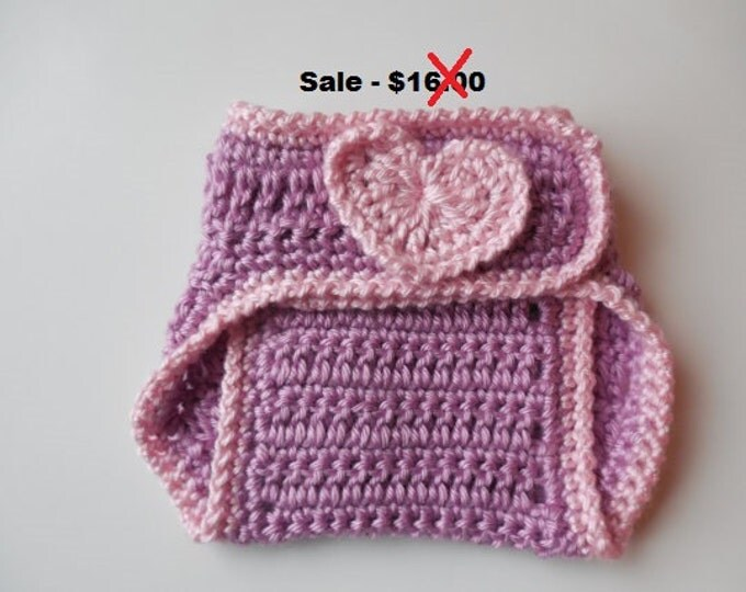 Purple Diaper Cover - with Pink Hearts - Baby - 0 to 3 Months - Handmade Crochet - Reduced - Clearance - Ready to Ship