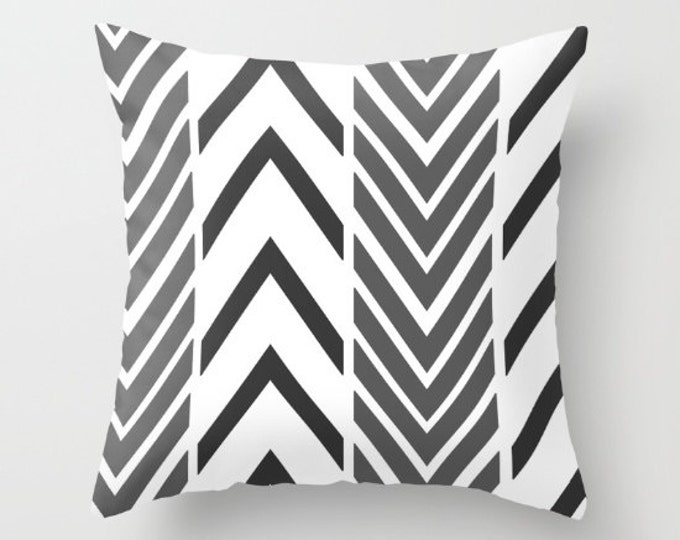 Black and Gray Pillow Cover - Cover Only - Arrow Modern Art  - Cushion Cover - Sofa Pillow - Throw Pillow - Made to Order