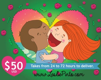 Customizable Digital Illustration Cute Kawaii style Garden Heart Background