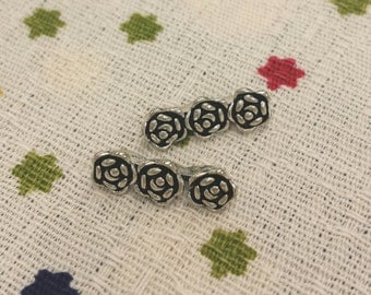 1 PC, Rose Spacer, Rose Bead, Sterling Silver Rose Spacer, 3-strand Rose Spacer, Carved Rose Spacer, 1mm Diameter, DIY Jewelry Supplies