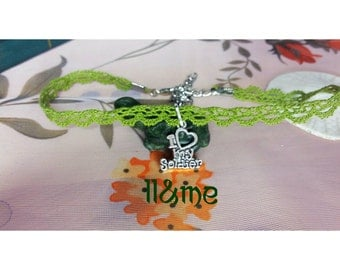 I love my soldier army green lace choker