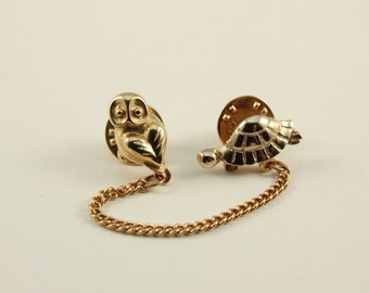 Vintage Turtle and Owl Pin (retro brooch 60s 50s 70s gold tone cute little small chain animal figural)