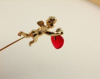Vintage Cupid with a Dangling Red Heart Bead Stick Hat Pin (retro 60s 70s 80s love valentine anniversary gift present brooch cute little)