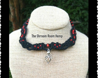 Depths of the Sea Octopus Necklace, Black Hemp, Red Seed Beads, Micromacrame, Adjustable Necklace
