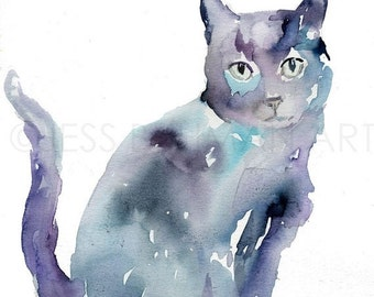 ON SALE Black Cat Watercolor Painting Print, Black Cat Painting, Cat Watercolor, Cat Illustration, Print of Cat, Pet Painting, Animal Waterc