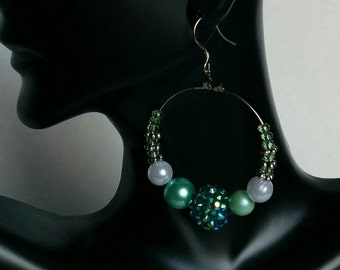Hoop Earrings Bangle Dangle Bling Jewelry Teal Love and Hip Hop Style Baller Trendy Beaded .925 Sterling Silver