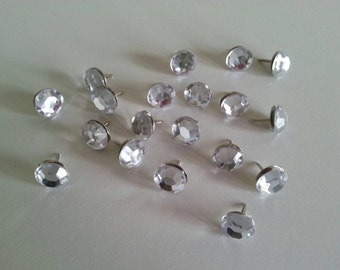 Rhinestone Push Pins - Clear Rhinestone Push Pins - Rhinestone Thumbtacks - Rhinestone Pins - Crystal Push Pins - Decorative Push Pins