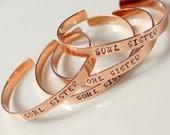 SOUL SISTER Bracelet. Personalized Hand Stamped Bracelet. Best Friend. BFF. Friendship. Gift Idea. Trending Jewelry. Message Cuff.