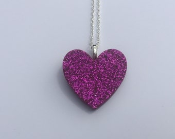 Purple Glitter Resin Heart Pendant