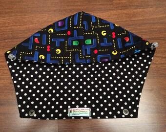 Tula Hoodie Hood in Video game fabric (High Score) & Black with white polkas