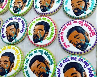 Sad Drake Birthday Cookies