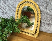 vintage boho wicker mirror weave bohemian basket glass wall hanging vanity home decor modern hippie