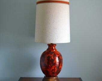 XL Mid Century Orange Ceramic and Wood Table Lamp w/ Shade