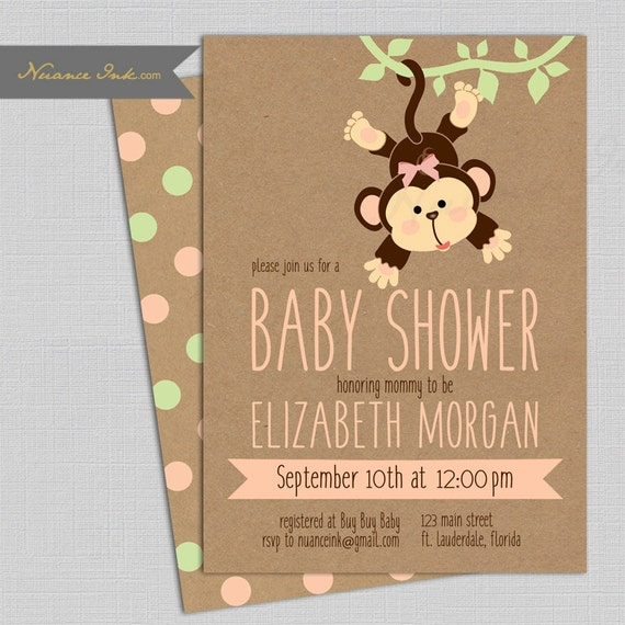 Monkey Baby Shower Invitations, pink or green, jungle theme, 24 hr turnaround, printed or digital file diy, polka dot, kraft paper