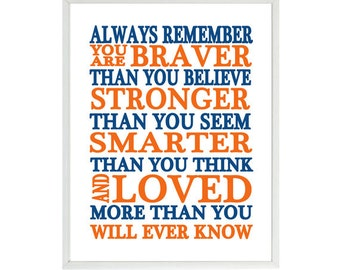Always Remember You Are Braver Than You Believe Quote, Nursery Wall Art, Inspirational Print, Typography, Baby Boy Nursery, Navy Blue Orange