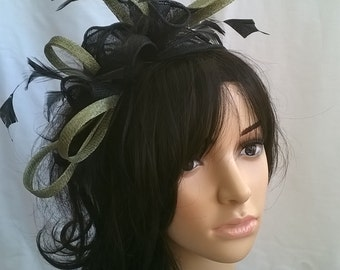 Stunning Black & Sage  rosette Sinamay and  Feather Fascinator.
