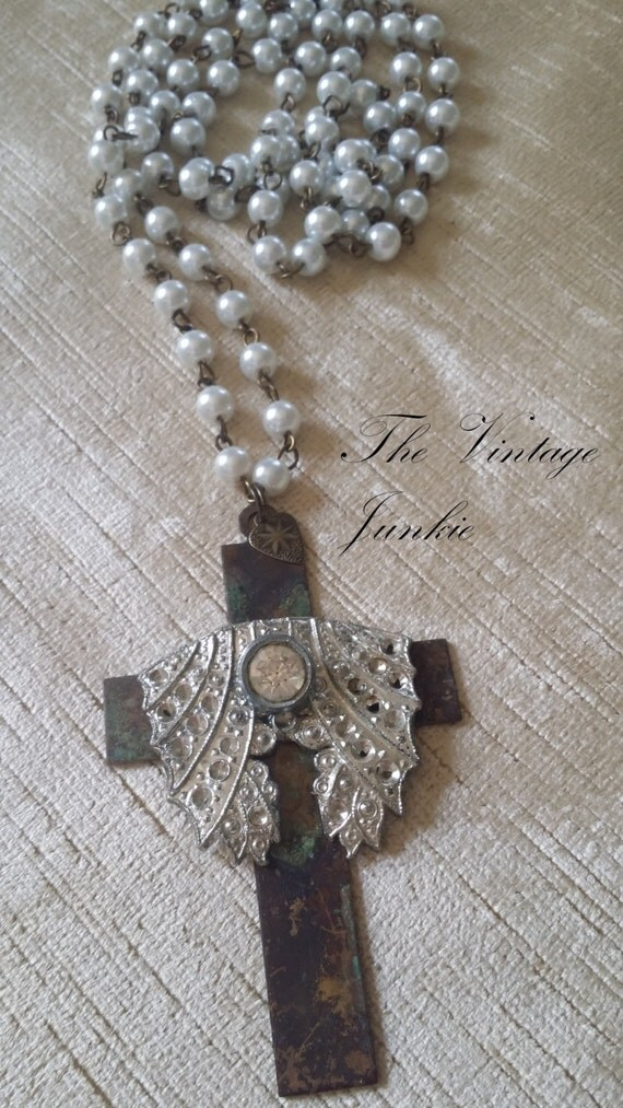 The Vintage Junkie...Long Layering Rhinestone Cross Necklace, with Vintage Glass Pearls