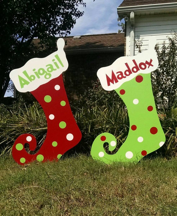 Outdoor Wooden Christmas Yard Decorations: Personalized Polka Dot Christmas Stockings Christmas Yard