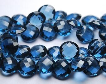 10 Match Pair,4 Inches Strand,Super Finest London Blue Quartz Faceted Briolette Heart  Approx 11mm