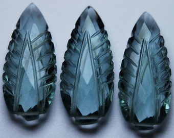 2 Matched Pairs,Moss Aquamarine Quartz Carving Faceted Pear Shape Briolettes,12x30mm