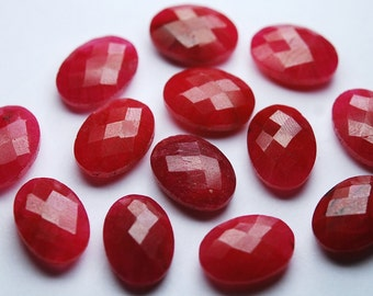 5 Matched Pair,Dyed Natural Ruby Faceted Oval Shape,8x12mm Size.