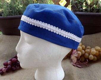 Royal Blue 100% Linen Migba'ah with White Scroll Trim Turban Hat