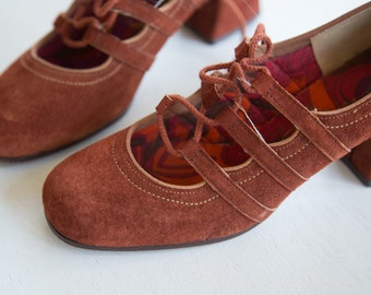 70s Mary Jane Shoes Orange Suede Shoes S 5