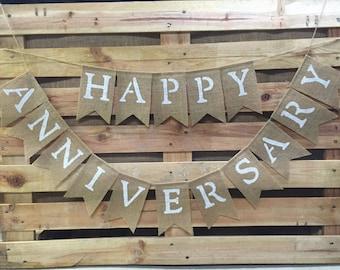 HAPPY ANNIVERSARY Burlap Banner, Anniversary Bunting, Anniversary Decoration, Anniversary Garland
