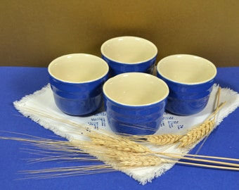 Ceramic Bake & Serve Custard Bowls in Cobalt Blue and Ivory, 4 Blue Mini Dessert / Condiment Cups, most likely Universal Oxford