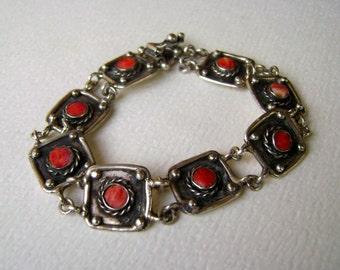 vintage spiny oyster shell panel bracelet, 950 silver