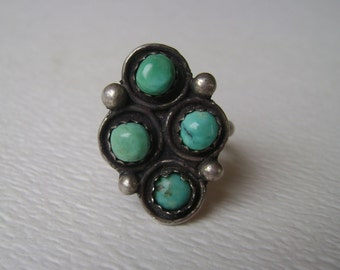 vintage sterling 4 stone turquoise ring, size 6