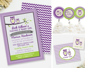 Owl Baby Shower Invitation Set, Owl Party Decor, Owl Favor Tags, Woodland Baby Shower Thank You, Purple and Lime, Printable Invite, #G7