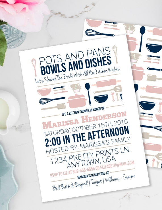 Stock The Kitchen Invitation Set, Bridal Shower Invite, Recipe Card And  Insert, Blush And Navy Kitchen Shower, Thank You Favor Tag, #20
