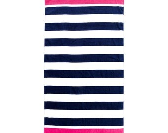 Navy Prep Beach Towel IN STOCK, Personalized Beach Towel, Poolside Towel, Guest Towel, Birthday and Graduation Gift Towel