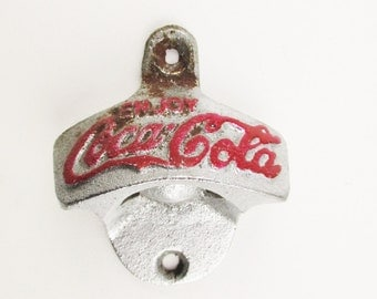 1940s-50s 'Coca-Cola' Bottle Opener With Red Against Silver - Cast Metal Wall Mount Opener