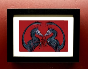 Raptors With Heart Archival Print in 4 by 6 Inch Black Frame