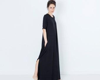 Womens Kaftan, Long Kaftan Dress, Cotton Kaftan, Boho Kaftan, Slit Dress, Casual Long Dress, Music Festival Dress, Casual Black Dress