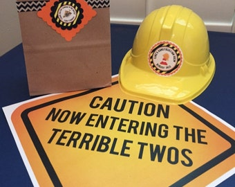 Caution Now Entering The Terrible Twos - Printed Construction Sign - Printed and Shipped Construction Party Sign - Construction Photo Prop